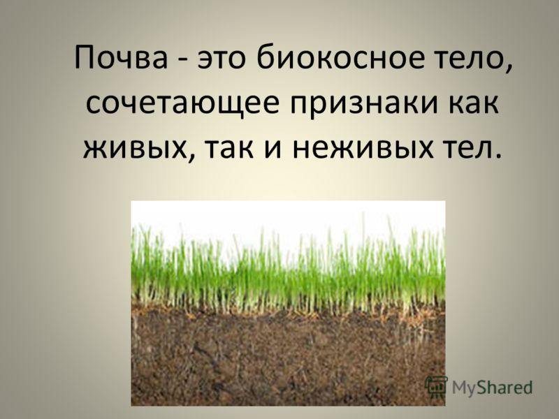 Почва - это биокосное тело, сочетающее признаки как живых, так и неживых тел.