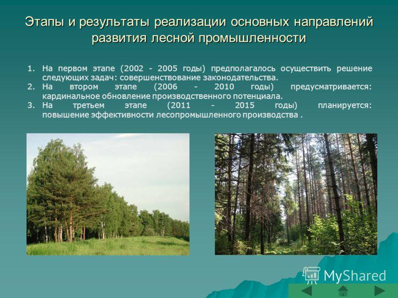 Этапы и результаты реализации основных направлений развития лесной промышленности 1.На первом этапе (2002 - 2005 годы) предполагалось осуществить решение следующих задач: совершенствование законодательства. 2.На втором этапе (2006 - 2010 годы) предус