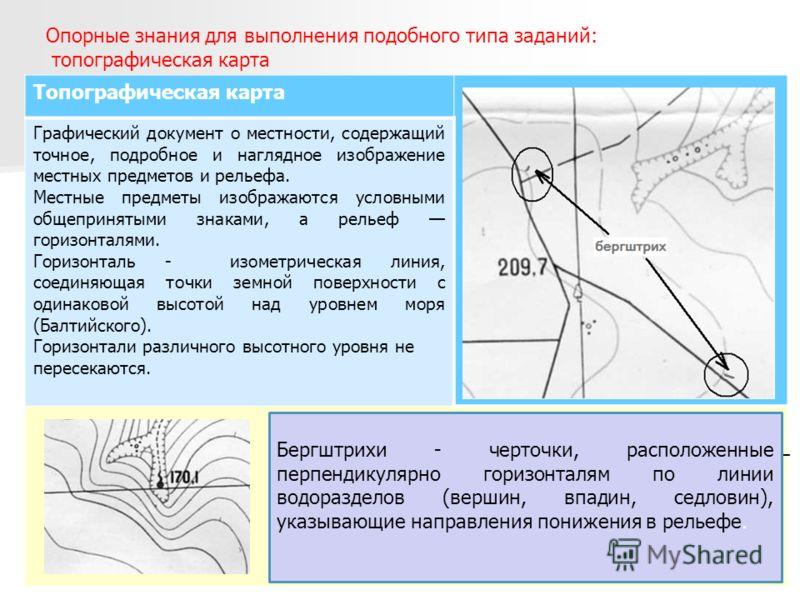 Опорные знания для выполнения подобного типа заданий: топографическая карта Топографическая карта Графический документ о местности, содержащий точное, подробное и наглядное изображение местных предметов и рельефа. Местные предметы изображаются условн