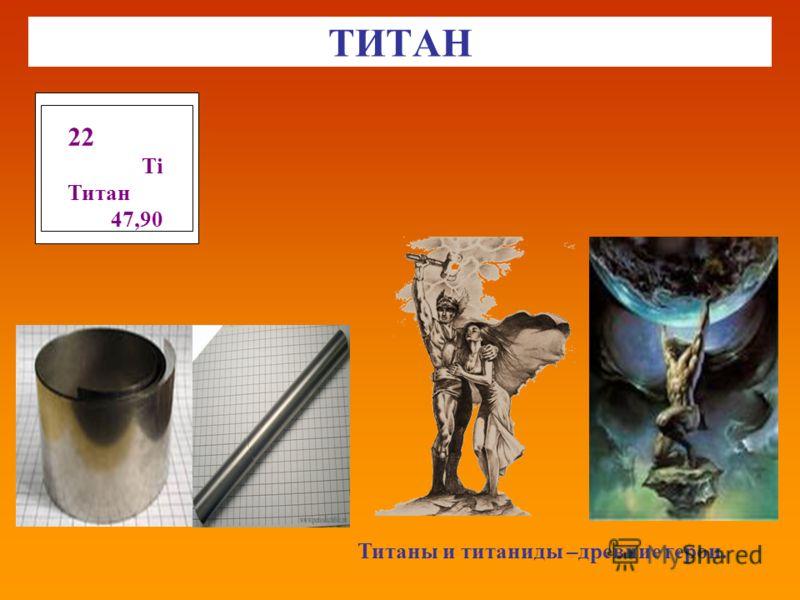 ТИТАН Титаны и титаниды –древние герои. 22 Тi Титан 47,90