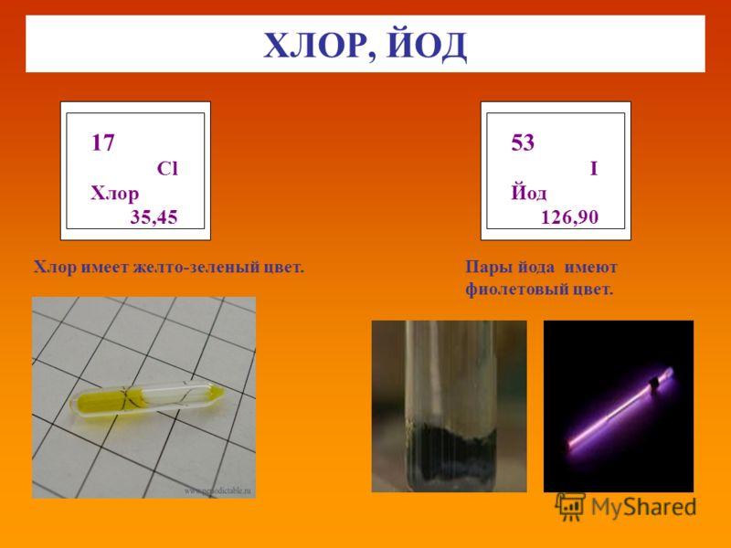 ХЛОР, ЙОД 17 Cl Хлор 35,45 53 I Йод 126,90 Хлор имеет желто-зеленый цвет.Пары йода имеют фиолетовый цвет.