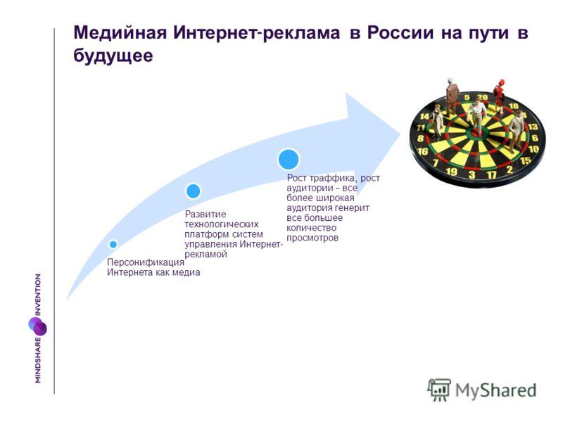 Медийная Интернет - реклама в России на пути в будущее Персонификация Интернета как медиа Развитие технологических платформ систем управления Интернет - рекламой Рост траффика, рост аудитории – все более широкая аудитория генерит все большее количест