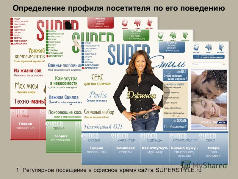 Определение профиля посетителя по его поведению 1. Регулярное посещение в офисное время сайта SUPERSTYLE.ru
