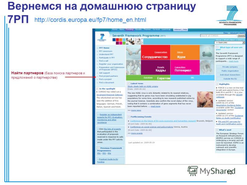 10 Вернемся на домашнюю страницу 7РП Найти партнеров (база поиска партнеров и предложений о партнерстве) http://cordis.europa.eu/fp7/home_en.html СотрудничествоИдеи КадрыПотенциал Евратом