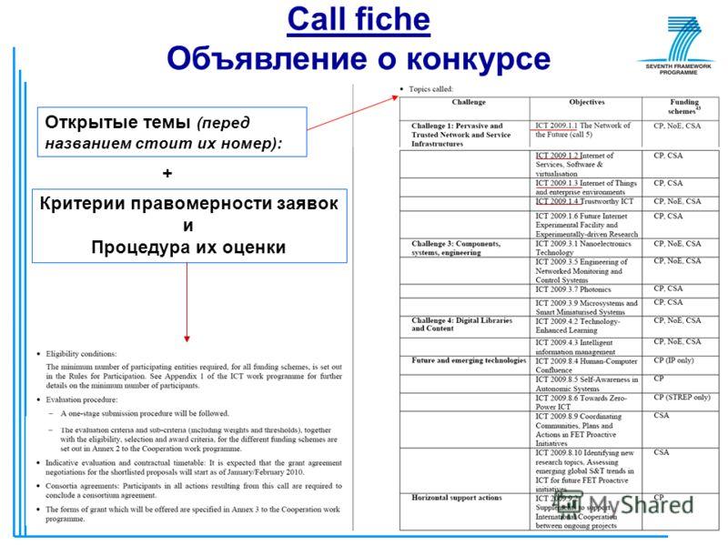 26 Call fiche Объявление о конкурсе Открытые темы (перед названием стоит их номер): + Критерии правомерности заявок и Процедура их оценки