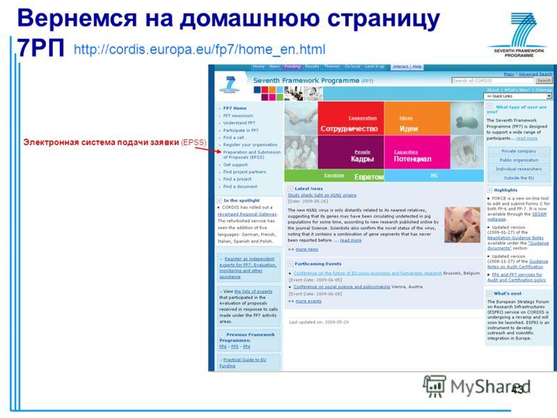 43 http://cordis.europa.eu/fp7/home_en.html СотрудничествоИдеи КадрыПотенциал Евратом Вернемся на домашнюю страницу 7РП Электронная система подачи заявки (EPSS)