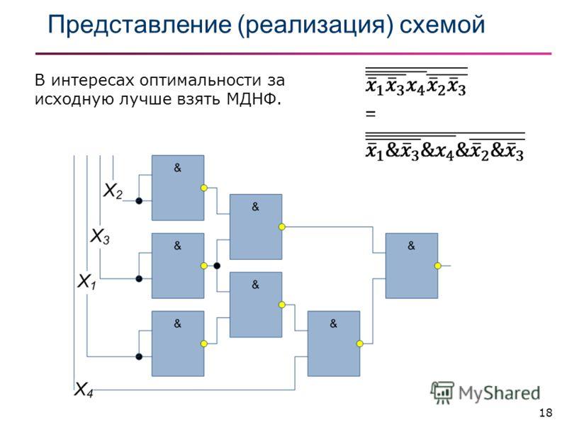 18 Представление (реализация) схемой В интересах оптимальности за исходную лучше взять МДНФ.