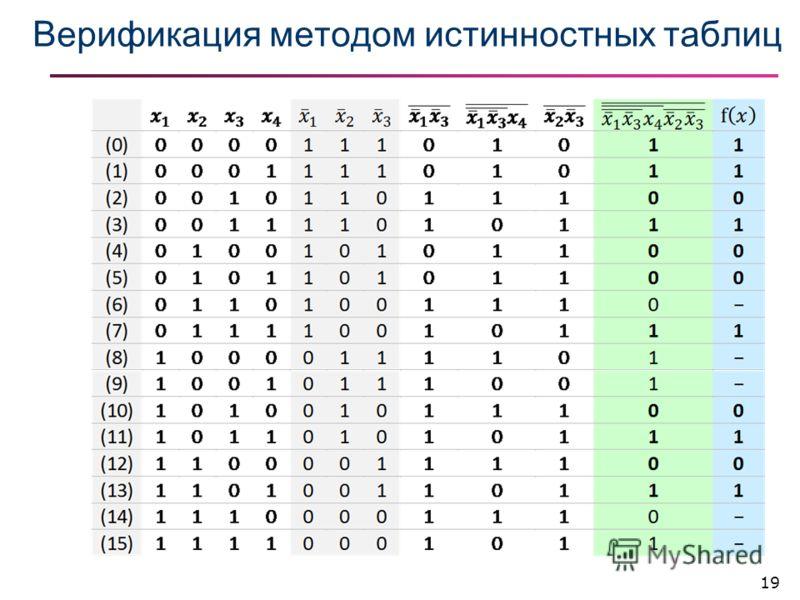 Верификация методом истинностных таблиц 19
