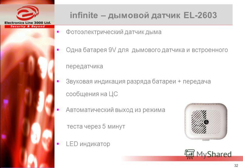 31 infinite – датчик разбития стекла EL-2606 Акустический датчик разбития стекла Защита от ложных срабатываний Радиус срабатывания от автоматического теста при монтаже - 6м Проверка датчика пользователем –хлопок в ладоши Реагирует на разбитие стекла