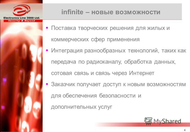 3 Оглавление Информация о компании infinite сегодня и завтра Проблемы, которые Мы решаем Связь Устройства Преимущества Удовлетворенные заказчики Окончательное резюме