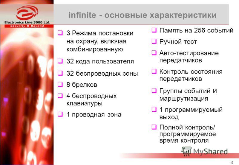 8 infinite – Удаленное программирование Высокая скорость связи и передачи данных –2400 бод - канал PSTN –9600 бод - канал GSM Интерфейс систем Summit/MasterLink совместим с Windows (XP/2000/ME) Простая установка – параметры модема берутся из конфигур