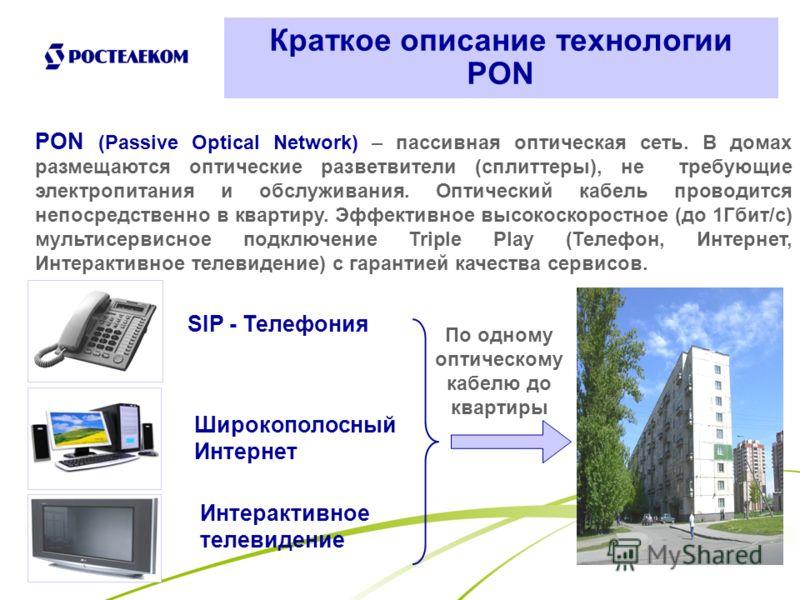 2 Краткое описание технологии PON PON (Passive Optical Network) – пассивная оптическая сеть. В домах размещаются оптические разветвители (сплиттеры), не требующие электропитания и обслуживания. Оптический кабель проводится непосредственно в квартиру.