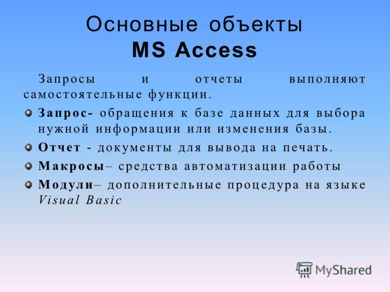 Основные объекты MS Access Запросы и отчеты выполняют самостоятельные функции. Запрос- обращения к базе данных для выбора нужной информации или изменения базы. Отчет - документы для вывода на печать. Макросы– средства автоматизации работы Модули– доп
