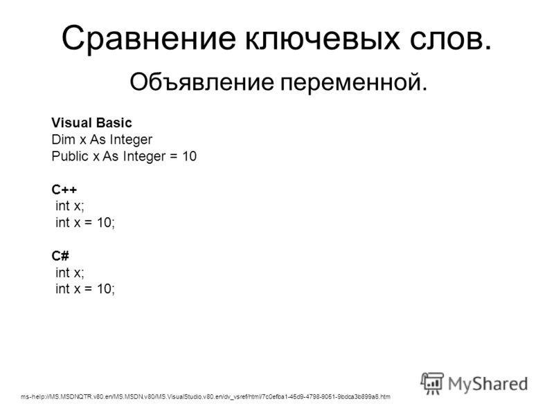 Сравнение ключевых слов. Объявление переменной. Visual Basic Dim x As Integer Public x As Integer = 10 C++ int x; int x = 10; C# int x; int x = 10; ms-help://MS.MSDNQTR.v80.en/MS.MSDN.v80/MS.VisualStudio.v80.en/dv_vsref/html/7c0efba1-45d9-4798-9051-9