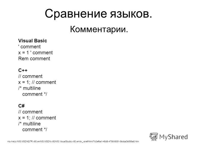 Сравнение языков. Комментарии. Visual Basic ' comment x = 1 ' comment Rem comment C++ // comment x = 1; // comment /* multiline comment */ C# // comment x = 1; // comment /* multiline comment */ ms-help://MS.MSDNQTR.v80.en/MS.MSDN.v80/MS.VisualStudio