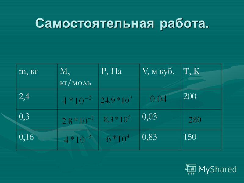 Самостоятельная работа. m, кгМ, кг/моль Р, ПаV, м куб.Т, К 2,4200 0,30,03 0,160,83150