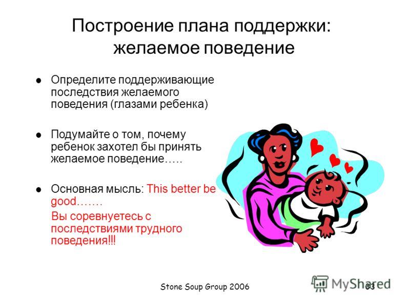 Stone Soup Group 200632 Построение плана поддержки альтернативного поведения: желаемое поведение ОПРЕДЕЛИТЕ желаемое поведение ВВЕДИТЕ В ДЕЙСТВИЕ желаемое поведение ОБУЧИТЕ желаемому поведению, которому ребенок следовал бы в ЛЮБОЙ соответствующей сит