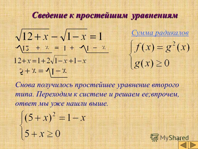 13 Сведение к простейшим уравнениям Сумма радикалов Итак, возведем обе части уравнения в квадрат и приведем подобные. готово