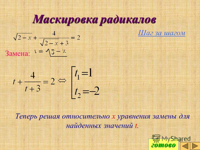 20 Маскировка радикалов Шаг за шагом Замена: Радикалы исчезают, и мы получаем рациональное уравнение относительно новой переменной t.Реши это уравнение самостоятельно.