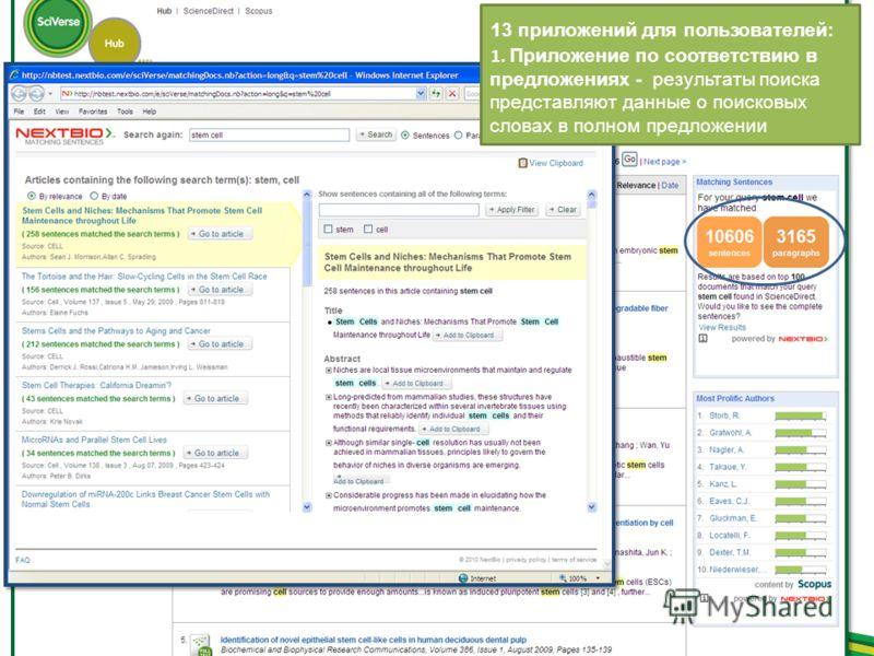 13 приложений для пользователей: 1. Приложение по соответствию в предложениях - результаты поиска представляют данные о поисковых словах в полном предложении