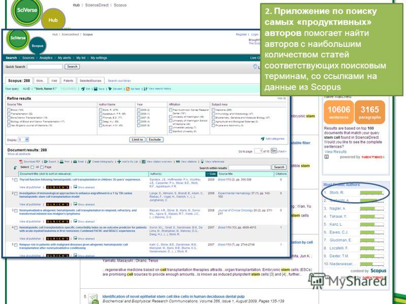 2. Приложение по поиску самых «продуктивных» авторов помогает найти авторов с наибольшим количеством статей соответствующих поисковым терминам, со ссылками на данные из Scopus