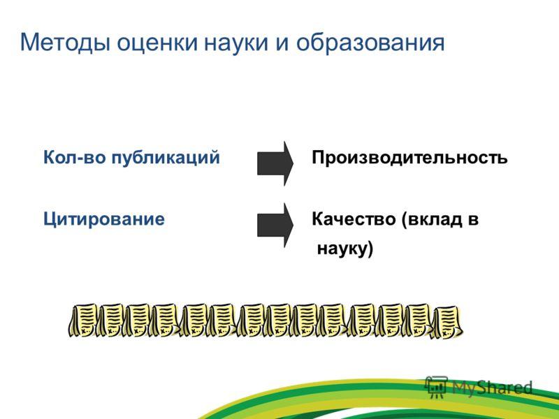 Методы оценки науки и образования Кол-во публикацийПроизводительность ЦитированиеКачество (вклад в науку)