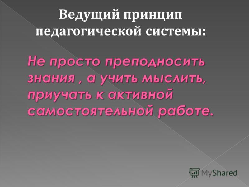 Ведущий принцип педагогической системы: