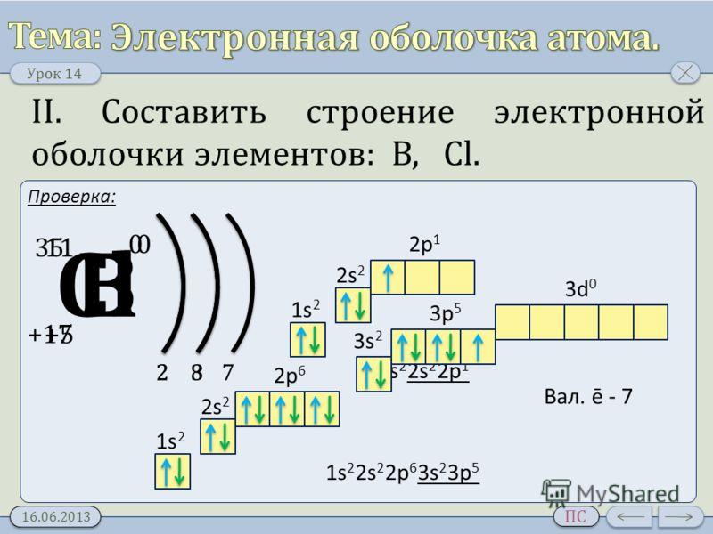 Урок 14 16.06.2013 ПС II. Составить строение электронной оболочки элементов: В, Cl. Проверка: В +5 11 0 23 1s21s2 2s 2 2p 1 1s 2 2s 2 2p 1 Вал. ē - 3 СlСl +17 35 0 28 1s21s2 2s 2 2p 6 1s 2 2s 2 2p 6 3s 2 3p 5 Вал. ē - 7 7 3p 5 3s 2 3d 0