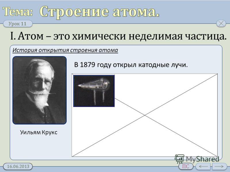 Урок 11 16.06.2013 ПС I. Атом – это химически неделимая частица. История открытия строения атома Уильям Крукс В 1879 году открыл катодные лучи.