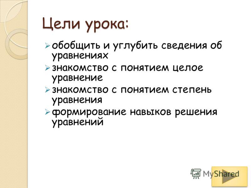Уравнения Знакомство Презентация