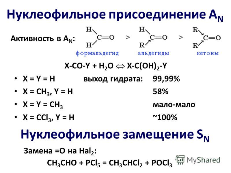 Активность в A N : X-CO-Y + H 2 O X-C(OH) 2 -Y X = Y = Hвыход гидрата:99,99% Х = СН 3, Y = H58% X = Y = CH 3 мало-мало X = CCl 3, Y = H~100% Нуклеофильное замещение S N Замена =О на Hal 2 : СН 3 СНО + PCl 5 = CH 3 CHCl 2 + POCl 3