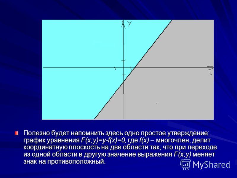 Полезно будет напомнить здесь одно простое утверждение: график уравнения F(x;y)=y-f(x)=0, где f(x) – многочлен, делит координатную плоскость на две области так, что при переходе из одной области в другую значение выражения F(x;y) меняет знак на проти