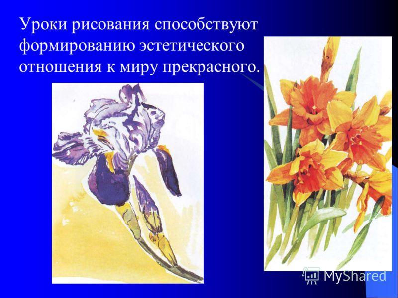 Уроки рисования способствуют формированию эстетического отношения к миру прекрасного.