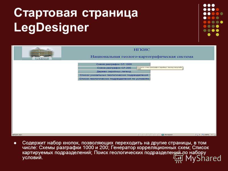 Стартовая страница LegDesigner Содержит набор кнопок, позволяющих переходить на другие страницы, в том числе: Схемы разграфки 1000 и 200; Генератор корреляционных схем; Список картируемых подразделений; Поиск геологических подразделений по набору усл