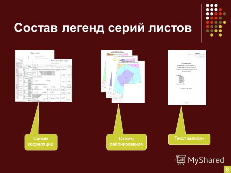 Состав легенд серий листов Схемы корреляции Схемы районирования Текст записки 8