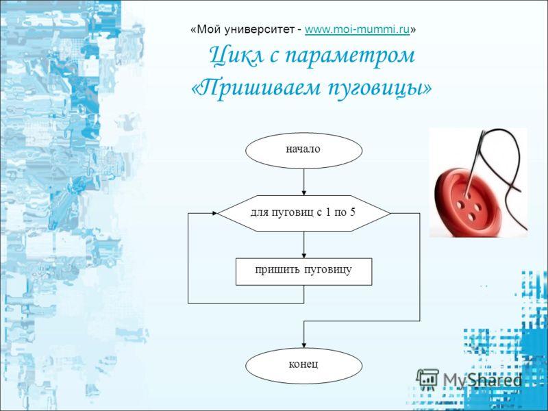 Цикл с параметром «Пришиваем пуговицы» для пуговиц с 1 по 5 пришить пуговицу начало конец «Мой университет - www.moi-mummi.ru»www.moi-mummi.ru