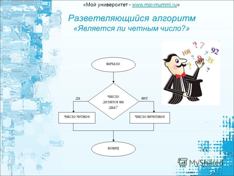 Разветвляющийся алгоритм «Является ли четным число?» число делится на два? число четное данет начало конец число нечетное «Мой университет - www.moi-mummi.ru»www.moi-mummi.ru