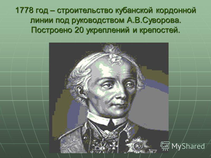1778 год – строительство кубанской кордонной линии под руководством А.В.Суворова. Построено 20 укреплений и крепостей.