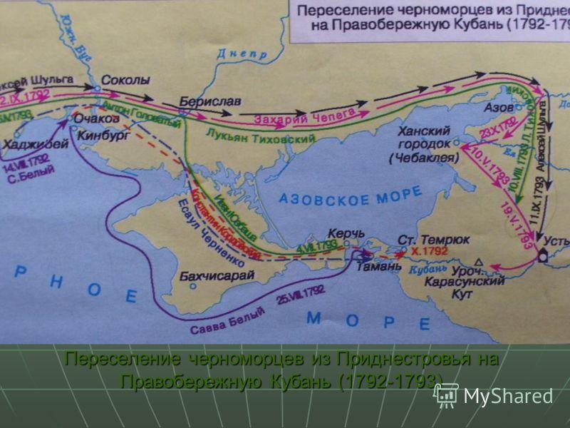 Переселение черноморцев из Приднестровья на Правобережную Кубань (1792-1793)