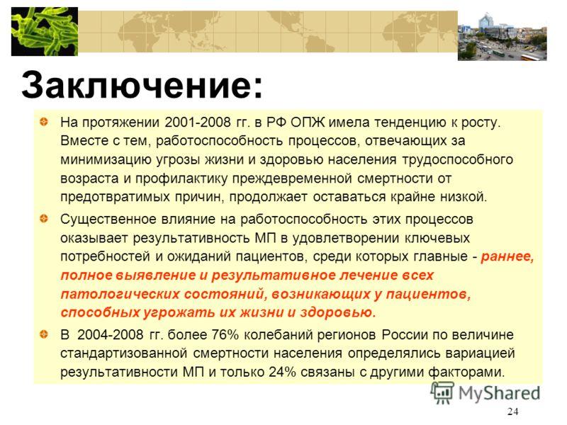 24 Заключение: На протяжении 2001-2008 гг. в РФ ОПЖ имела тенденцию к росту. Вместе с тем, работоспособность процессов, отвечающих за минимизацию угрозы жизни и здоровью населения трудоспособного возраста и профилактику преждевременной смертности от