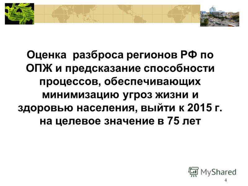 4 Оценка разброса регионов РФ по ОПЖ и предсказание способности процессов, обеспечивающих минимизацию угроз жизни и здоровью населения, выйти к 2015 г. на целевое значение в 75 лет