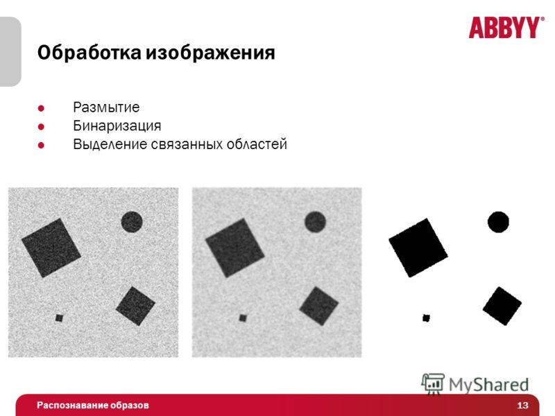 Распознавание образов Обработка изображения Размытие Бинаризация Выделение связанных областей 13