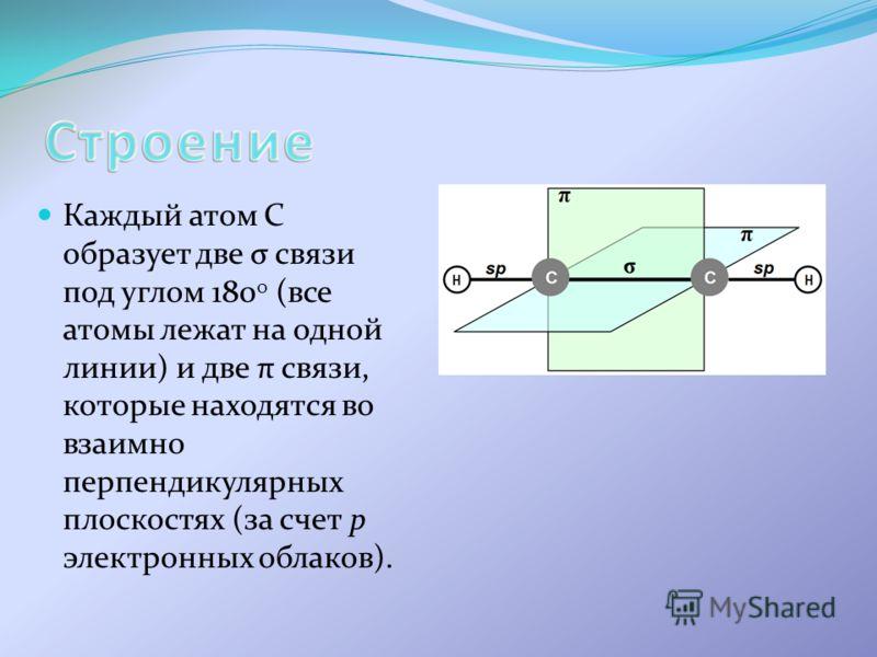 Каждый атом С образует две σ связи под углом 180 0 (все атомы лежат на одной линии) и две π связи, которые находятся во взаимно перпендикулярных плоскостях (за счет р электронных облаков).