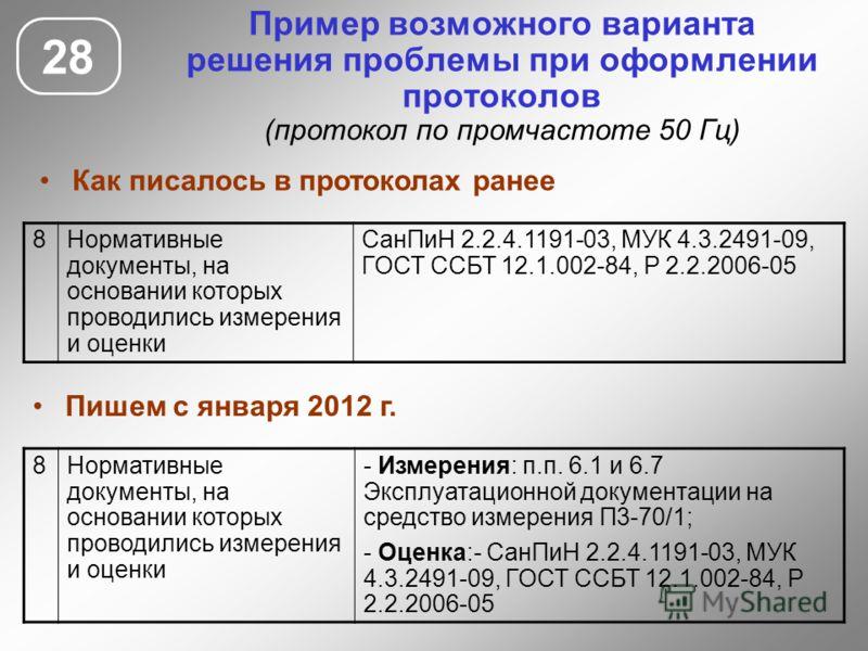 28 Пример возможного варианта решения проблемы при оформлении протоколов (протокол по промчастоте 50 Гц) 8Нормативные документы, на основании которых проводились измерения и оценки СанПиН 2.2.4.1191-03, МУК 4.3.2491-09, ГОСТ ССБТ 12.1.002-84, Р 2.2.2