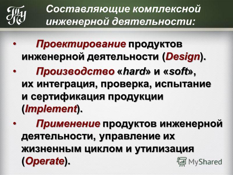 Составляющие комплексной инженерной деятельности: Проектирование продуктов инженерной деятельности (Design). Проектирование продуктов инженерной деятельности (Design). Производство «hard» и «soft», их интеграция, проверка, испытание и сертификация пр
