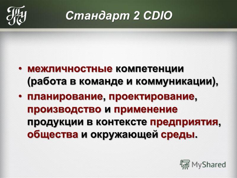 Стандарт 2 CDIO межличностные компетенции (работа в команде и коммуникации),межличностные компетенции (работа в команде и коммуникации), планирование, проектирование, производство и применение продукции в контексте предприятия, общества и окружающей