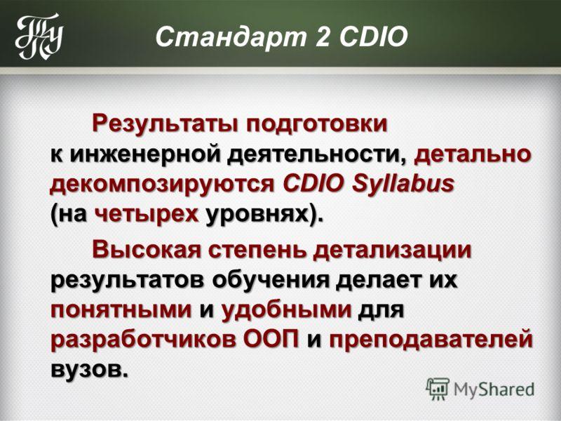 Стандарт 2 CDIO Результаты подготовки к инженерной деятельности, детально декомпозируются CDIO Syllabus (на четырех уровнях). Результаты подготовки к инженерной деятельности, детально декомпозируются CDIO Syllabus (на четырех уровнях). Высокая степен