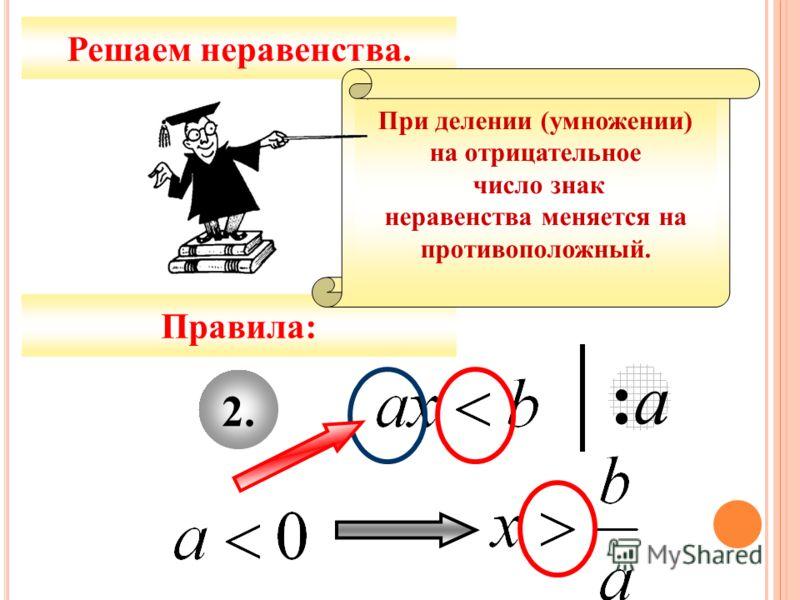 2.2. :а:а Решаем неравенства. Правила: Решить неравенство – найти значение переменной, которое обращает его в верное числовое неравенство. При делении (умножении) на отрицательное число знак неравенства меняется на противоположный.