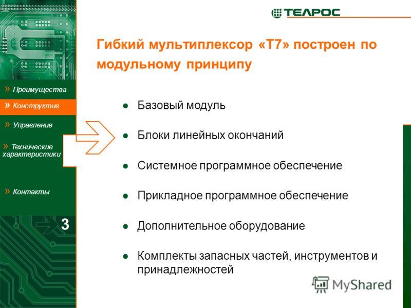 Гибкий мультиплексор «Т7» построен по модульному принципу Базовый модуль Блоки линейных окончаний Системное программное обеспечение Прикладное программное обеспечение Дополнительное оборудование Комплекты запасных частей, инструментов и принадлежност