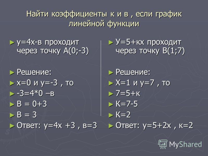 Найти коэффициенты к и в, если график линейной функции у=4х-в проходит через точку А(0;-3) у=4х-в проходит через точку А(0;-3) Решение: Решение: х=0 и у=-3, то х=0 и у=-3, то -3=4*0 –в -3=4*0 –в В = 0+3 В = 0+3 В = 3 В = 3 Ответ: у=4х +3, в=3 Ответ: